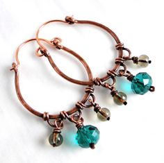 Hoop+Earrings+Antiqued+Copper+Jewelry+Teal+Green+by+KariLuJewelry,+$32.00