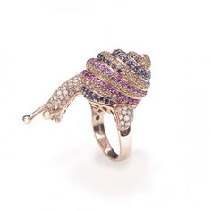 Snail Ring in pink gold, diamond and multicolor sapphires by New Italian Art.