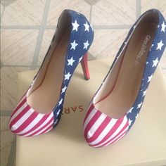 Festive Heels Never Worn. Still has plastic on the soles. American Flag. Great for going out. Bought from a boutique never got a chance to wear them. Rebecca Minkoff Shoes Heels