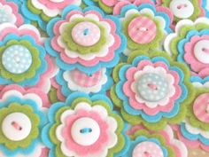 EMILY Felt Flower Embellishments  - Set of 3 Handmade Felt Flowers in Pink, Aqua, White and Lime. $3.75, via Etsy.