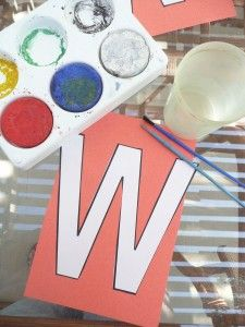 Work on letter recognition while watercolor painting on the Letter W. Letter W Activities, Preschool Letters, Art Activities For Kids, Preschool Art, Writing Activities, Preschool Activities, Alphabet Letter Crafts, Alphabet Book, Abc Crafts