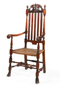 A VERY RARE WILLIAM AND MARY TURNED AND CARVED MAPLE AND ASH BANNISTER-BACK ARMCHAIR, SALEM, MASSACHUSETTS, CIRCA 1725