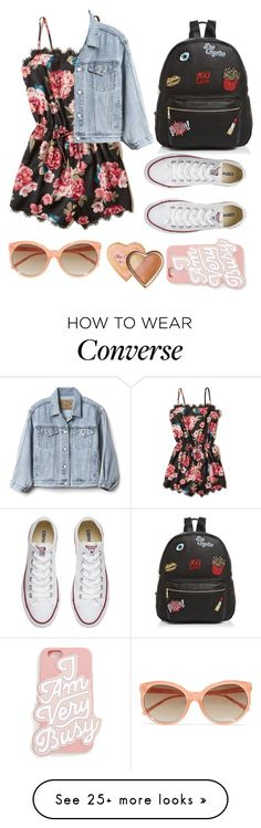 """""""Spring break"""" by jasmine-asher on Polyvore featuring Ollie & B, Converse, Hollister Co., Gap, ban.do, Linda Farrow and Too Faced Cosmetics"""