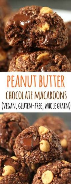 These healthier chocolate peanut butter macaroons are incredibly delicious and are gluten-free, vegan, and 100% whole grain!