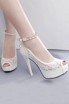 Femmes Bout Ouvert Noeud Plateforme Talons Aiguilles Dentelle Mariage Chaussures Mariée Sandales Pompe