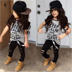 5.65$ (More info here: http://www.daitingtoday.com/t-shirt-tops-pants-casual-stylish-kids-baby-girls-clothes-sets-2pcs-dark-gray-belt-hole-cotton-2016-outfit-set-girl-age-2-7y ) T-shirt Tops Pants Casual Stylish Kids Baby Girls Clothes Sets 2pcs Dark Gray Belt Hole Cotton 2016 Outfit Set Girl Age 2-7Y for just 5.65$