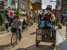 "Nippon Daemon, the leader of the gang of thieves featured in the Kabuki play ""Benten Kozo"" as bouncer for cars and other vehicles in Asakusa's Denpoin Dori. #Asakusa, #Denpoin, #Kabuki 5/6 September 19, 2014 © Grigoris A. Miliaresis"