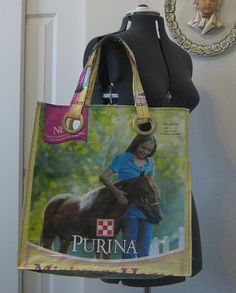 These are animal feed bags repurposed into tote bags for the market or whatever your heart desires.