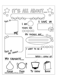 English for Kindergarten Free Worksheet. 30 English for Kindergarten Free Worksheet. Kindergarten Worksheets English Vocabulary Worksheets for All About Me Preschool, All About Me Activities, English Activities, Introduction Activities, Free Preschool, Free Printable Worksheets, Kindergarten Worksheets, Worksheets For Kids, Kindergarten Handwriting