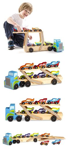 Wooden and Handcrafted Toys 1197: Melissa Doug Mega Race Car Carrier Wooden Play Vehicle Motor Skill Kid Toy Game -> BUY IT NOW ONLY: $32.01 on eBay!