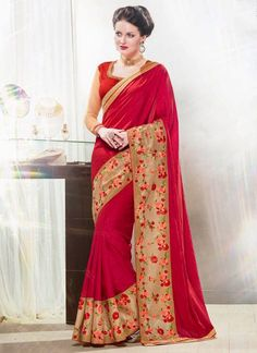 Appealing Faux Georgette Embroidered Work Designer Saree