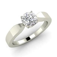 Round I Diamond  Solitaire Engagement Ring in 14k White Gold