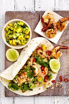 Prawn and Quinoa Wraps with an awesome summer salsa. Delicicious fresh flavours in every mouthful. NOMU Grinders are used in this recipe. Mango Avocado Salsa, Quinoa, Carb Free Diet, High Protein Salads, Lunch Wraps, How To Peel Tomatoes, Yellow Foods, Vegetable Puree
