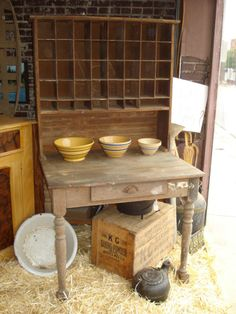 Love this olde postmaster table.......I really need one of these
