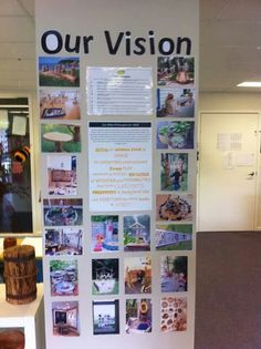 photo board illustrates the school vision--cool idea to make to show classroom vision Learning Spaces, Learning Environments, Learning Centers, Early Learning, Childcare Environments, Reggio Classroom, Classroom Organisation, Outdoor Classroom, Classroom Ideas