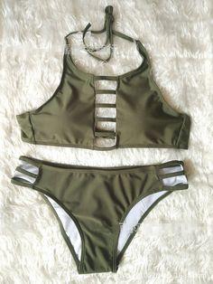 Trendy Olive Stylish Halter Tank Swimsuit Bikini