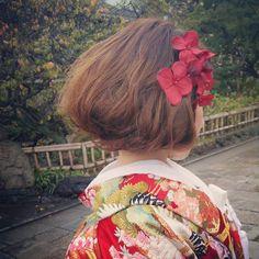 ボブ風スタイル #新婦さんの大好きなアジサイで #ヘアアレンジ #前撮り #和装 #打ち掛け #ヘアメイク
