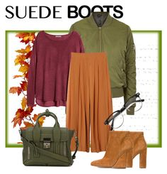 Suede boots by lindaspfashioncloset on Polyvore featuring polyvore мода style H&M Topshop Gianvito Rossi 3.1 Phillip Lim fashion clothing Fall nature