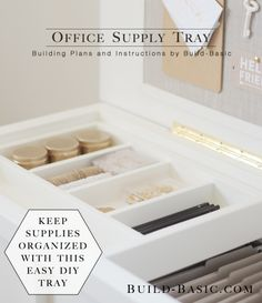 Get organized with this easy DIY Office Supply Tray! Sliding tray fits perfectly inside our DIY Filing Chest! Free plans by @BuildBasic include photos and cut list. #Woodworking #DIY #Office #FilingChest #Tray #Organization #OfficeStorage #FilingCabinet #FreePlans #HowTo #BuildingPlans