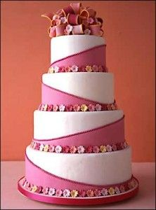 Pink and white tiered cake with tiny flowers. I love the asymmetrical design