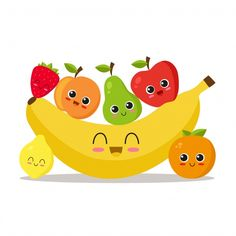More than a million free vectors, PSD, photos and free icons. Exclusive freebies and all graphic resources that you need for your projects Kawaii Drawings, Cute Drawings, Deco Fruit, Fruit Clipart, Fruit Birthday, Fruit Cartoon, Free Fruit, Fruit Party, Background Patterns
