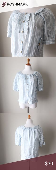 """Anthropologie Striped Ruffled Short Sleeve Blouse Unique nautical inspired striped button down blouse. In gently used condition.   Bust: 18"""" Length: 23"""" Size: 10  All orders ship same* or next business day! * Order by 3pm EST for same day shipping Anthropologie Tops Blouses"""