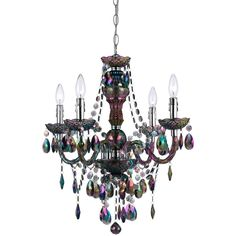 Naples Mini Chandelier in Iridescent Smoked Glass