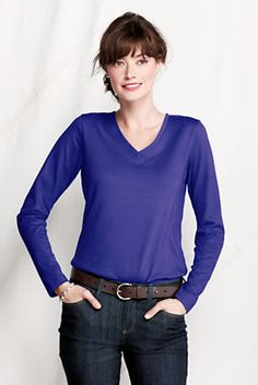 $15-25 Women's Long Sleeve Relaxed Supima V-neck T-shirt from Lands' End