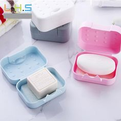 new arrival 4 colors travel handmade soap box soap case dishes waterproof leakproof soap box with lock box cover wholesale #YH #Affiliate