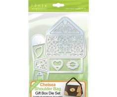 Tonic Chelsea Shoulder Bag Die – 764E £31.99 Girls Night Out – Create 3D bags with the set containing 10 Dies. A collection perfect for any crafter.Outer Die – 210mmx150mm  Bag Inner – 60mmx105mm  Bag Inner design – 52mmx97mm  Bag Top – 30mmx80mm  Bag Side – 35x35mm  Bag Side Design – 27mmx27mm  Heart – 30mmx35mm  Broach – 25mmx35mm  Tag – 40mmx21mm  Corner Patch – 30mmx25mmx2mm