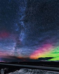 """beautifuldestinations: """"Rainbow night skies  courtesy of @itseriksen. Tag someone to see this with!"""""""