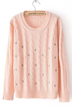 Embroidered Braided Sweater