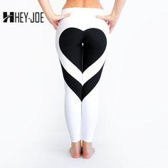 Womens Heart Pattern Mesh Splice Harajuku Athleisure Fitness Clothing  Elastic Sporting Leggings Yoga Pants 9e5a129ec1