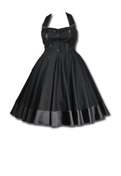 Vintage Cotton Halter Style Swing Dress in Black