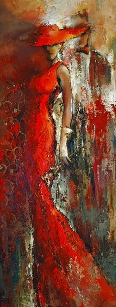 "From the series Waltz from ""The Godfather"" by Elena Flatov??? (via translation). Abstract portrait painting in red set off with cream and black and gold."
