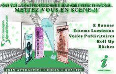 Print-Enseigne-Signaletique.pub, des Supports de Communication Grand Format : X banner, Roll Up, Totem lumineux intérieur, volie publicitaire, bache imprimée....