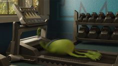 Disney Pixar Monsters Inc.: Mike at the gym (http://howdoiputthisdisney.tumblr.com/post/52907643394/when-i-go-to-the-gym-for-the-first-time-in-a-long-time)