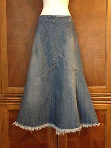 Cato Long Denim Jeans Skirt New Boho Peasant Raw Hem Factory Faded #catofashions