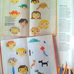 Hand drawn family cross stitch in recent Martha Stewart living. Putting this in embroidery board because I think it could work that way too.