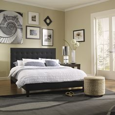 The Waverly Platform Bed is upholstered with black faux leather and has a truly lovely footboard and headboard. This platform bed is the perfect complement for nearly any bedroom set, and you will be fully satisfied with your new style.