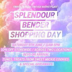 Who's coming? 🌈💖🍾 TIBBS & BONES x VINTAGE MARKETPLACE - SPLENDOUR BENDER SHOPPING DAY