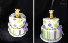 Giraffe Baby Shower Cake - Purple and Lime Green.