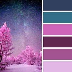 Mauve amethyst and teal color palette