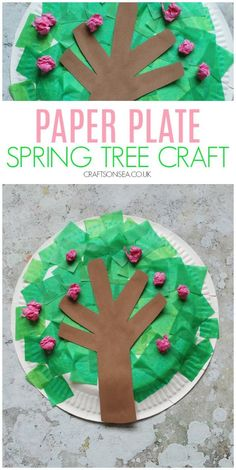 This easy paper plate spring tree craft with it's tissue paper cherry blossom is perfect for an easy crafts for kids #kidscrafts #springcrafts