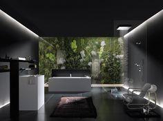 Zwarte badkamer met wit sanitair. Lichtinval via plafond. 1 kleurelement die het strakke zwart-wit wat breekt. Fotobehang als idee in de douche, haalbaar?