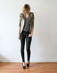 Gold Sequin blazer and grey t @Raema Mauriello this is for you and your blazer!
