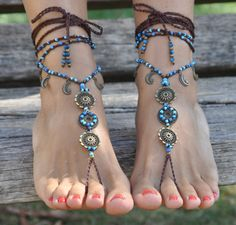 MOON MANDALA BAREFOOT sandals Foot jewelry Hippie от PanoParaTanto