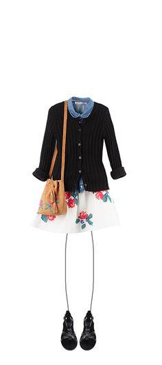 Cardigan Black Amanda shirt Ink Lilo skirt Poppy Bucket drawstring bag Nutmeg Navplia sandals Black