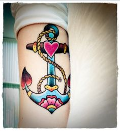 Very cute and girly forearm anchor tattoo