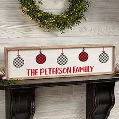 Buy personalized framed wall art with our farmhouse Christmas design featuring red, black and white buffalo check plaid ornaments. Add any text to include a family name, holiday greeting and more. Christmas Wall Art, Christmas Mantels, Christmas Design, Christmas Diy, Christmas Paintings, Christmas Quotes, Country Christmas, Christmas Nails, Barn Wood Frames